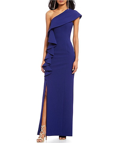 Vince Camuto One Shoulder Ruffle Gown