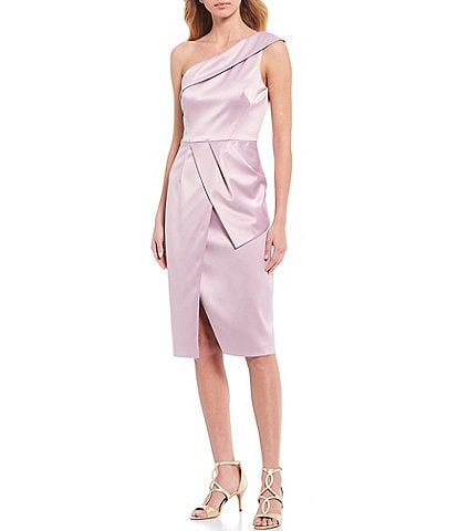 Vince Camuto One-Shoulder Satin Wrap Sheath Dress