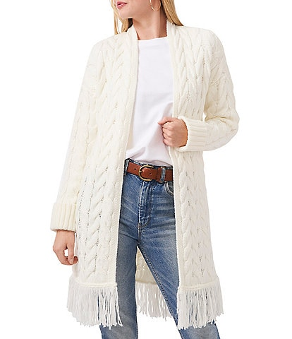 Vince Camuto Open Front Long Sleeve Cable Stitch Fringed Cardigan