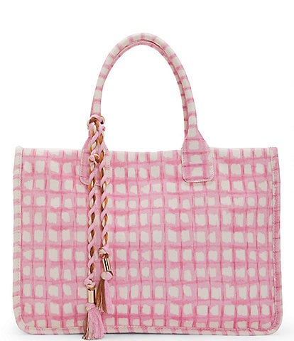 Vince Camuto Orla Gingham Canvas Tote Bag