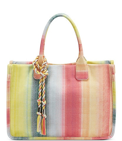 Vince Camuto Orla Striped Textured Canvas Tote