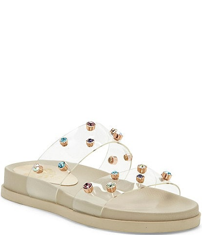 Vince Camuto Partha Clear Jeweled Slide Sandals