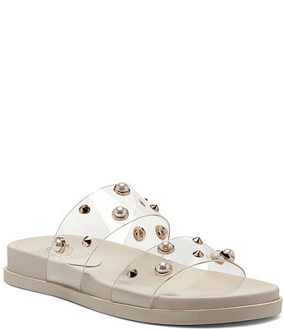 Vince Camuto Partha Clear Pearl Slide Sandals
