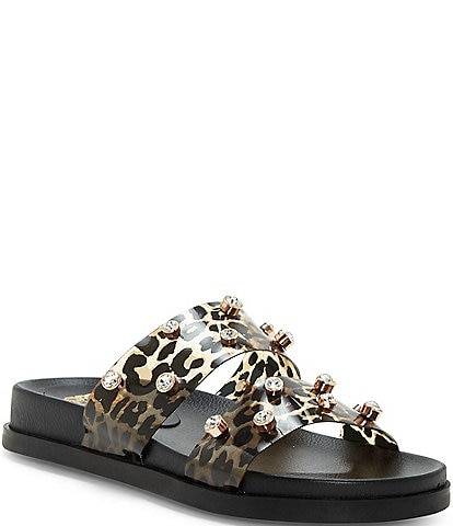 Vince Camuto Partha Leopard Print Jeweled Slide Sandals