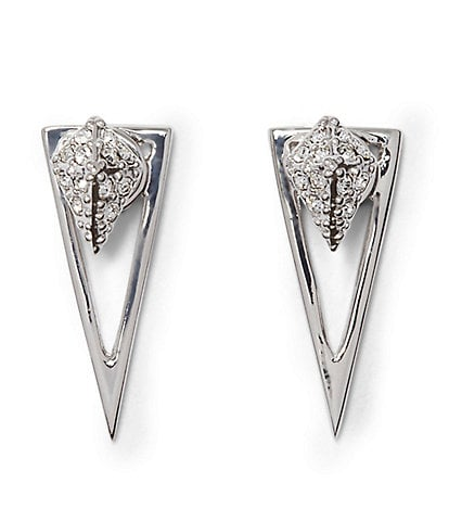 Vince Camuto Pav Crystal Pyramid Front/Back Earrings