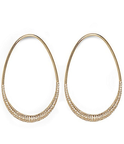 Vince Camuto Pave Oval Frontal Hoop Earrings