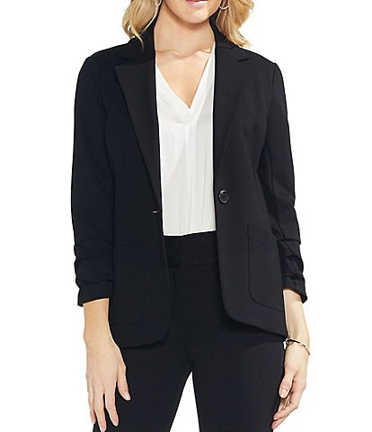 Vince Camuto Petite Size 3/4 Ruched Sleeve Jacket
