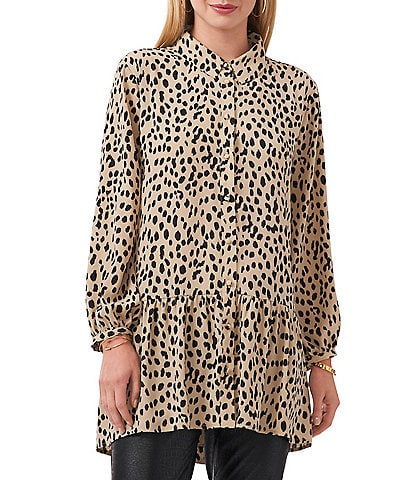 Vince Camuto Petite Size Animal Reset Long Sleeve Point Collar Neck Button Down High-Low Ruffle Hem Tunic