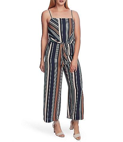Vince Camuto Petite Size Southwestern Stripe Tie Front Square Neck Sleeveless Jumpsuit