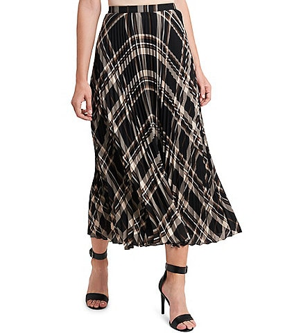 Vince Camuto Plaid Pleated Midi Skirt