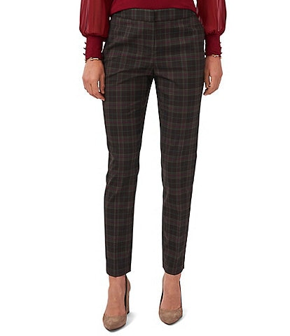 Vince Camuto Plaid Flat Front Woven Skinny Leg Mid Rise Pants