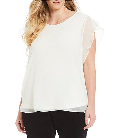 Vince Camuto Plus Ruffle Sleeve Blouse