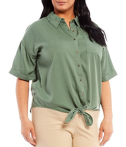 Vince Camuto Plus Size Point Collar Short Sleeve Button Down Tie Front Top
