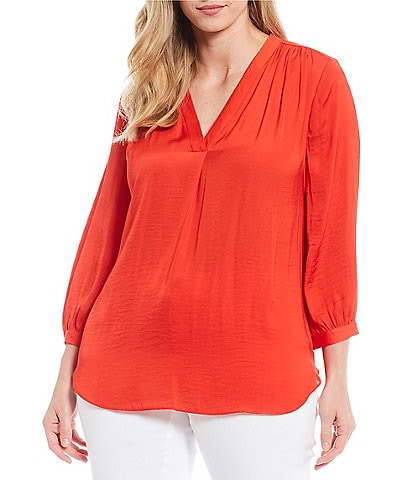 Vince Camuto Plus Size V-Neck Bishop Sleeve Rumple Blouse