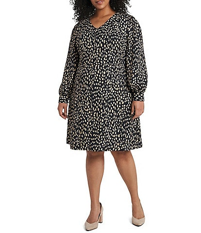 Vince Camuto Plus Size Animal Print Button Front Dress