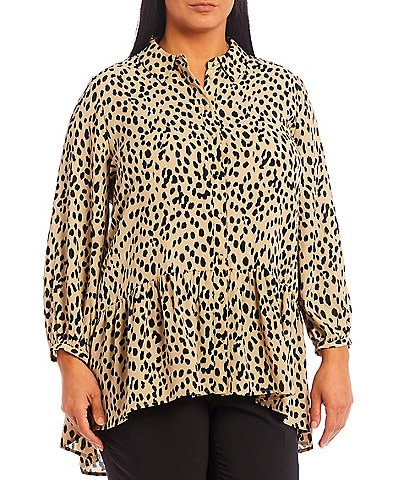 Vince Camuto Plus Size Animal Reset Long Sleeve High-Low Button-Down Collar Peplum Tunic