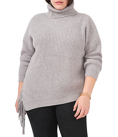 Vince Camuto Plus Size Asymmetrical Fringe Turtleneck Long Sleeve Sweater