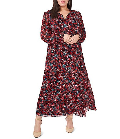 Vince Camuto Plus Size Autumn Floral Tiered V-Neck Long Sleeve Maxi Dress
