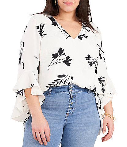 Vince Camuto Plus Size Flutter Sleeve Floral Print Tunic