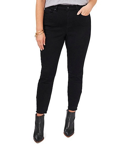 Vince Camuto Plus Size Frayed Hem High Rise Ankle Length Jeans