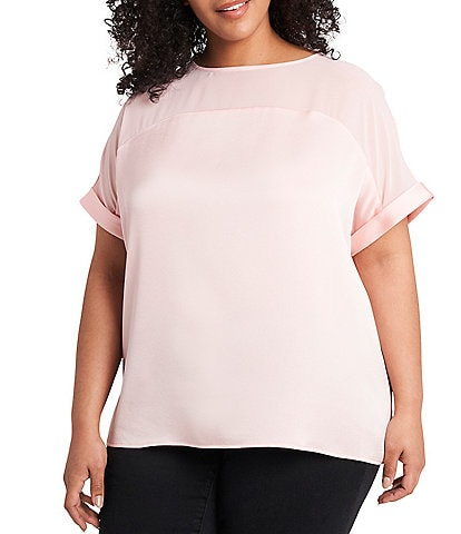 Vince Camuto Plus Size Hammered Satin Chiffon Short Cuffed Sleeve Blouse