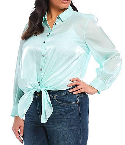 Vince Camuto Plus Size Long Sleeve Button Down Iridescent Tie Front Blouse