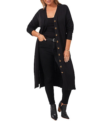 Vince Camuto Plus Size Long Sleeve Button Front Maxi Sweater Cardigan