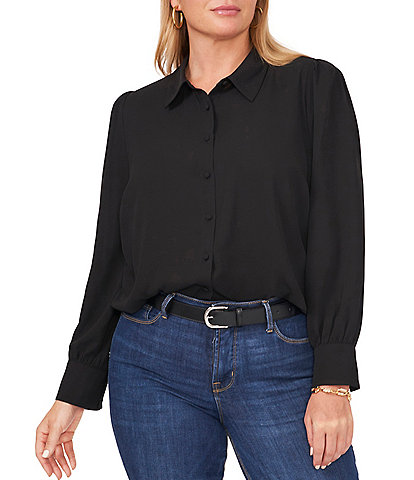 Vince Camuto Plus Size Long Sleeve Point Collar Neck Button Down Shirt