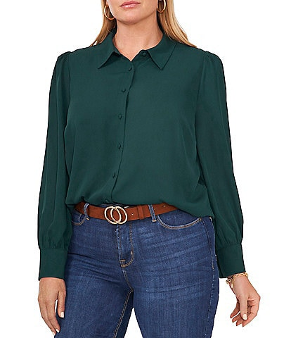 Vince Camuto Plus Size Long Sleeve Point Collar Button Down Shirt