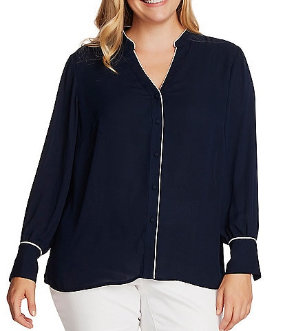 Vince Camuto Plus Size Long Sleeve Contrast Piped Trim Button Down Blouse