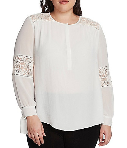 Vince Camuto Plus Size Long Sleeve Lace Detail Tie Cuff Top