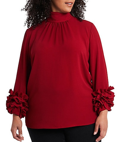 Vince Camuto Plus Size Long Sleeve Ruffle Cuff Mock Neck Blouse