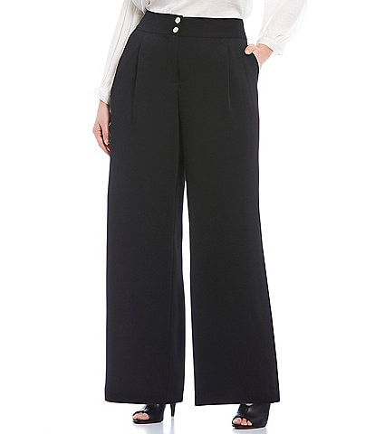Vince Camuto Plus Size Pique Pleat Front Wide Leg Pants