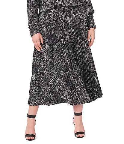 Vince Camuto Plus Size Pleated Coordinating Croc Midi Skirt