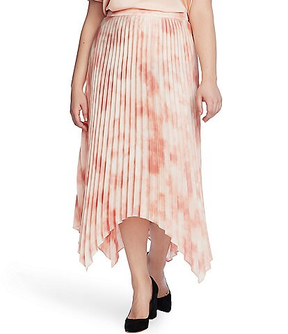 Vince Camuto Plus Size Pleated Tie Dye Asymmetrical Midi Skirt