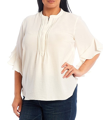 Vince Camuto Plus Size Banded Collar Split Round Neck Ruffled Elbow Short Sleeve Henley Blouse