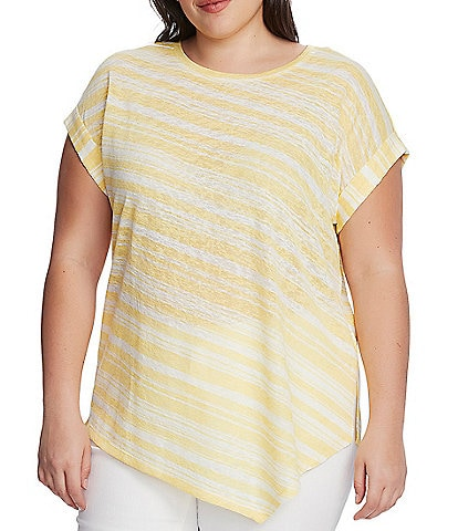 Vince Camuto Plus Size Short Sleeve Asymmetrical Striped Tee