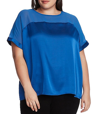 Vince Camuto Plus Size Short Sleeve Chiffon Yoke Charmeuse Satin Blouse