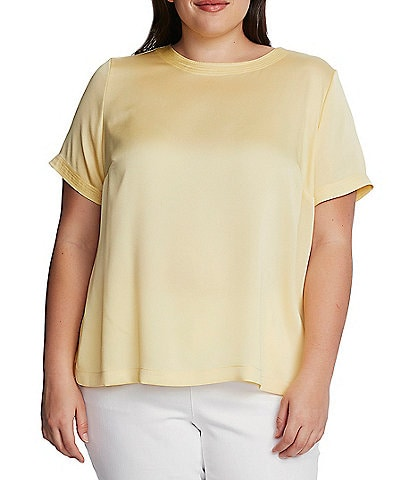 Vince Camuto Plus Size Short Sleeve Hammered Satin Blouse