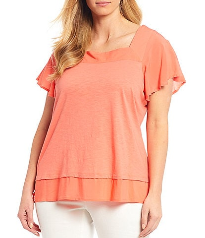 Vince Camuto Plus Size Short Sleeve Square Neck Layered Knit Cotton Blend Top