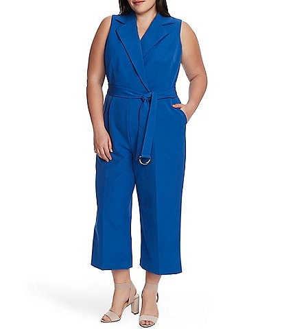 Vince Camuto Plus Size Sleeveless Belted Wide Leg Crop Jumpsuit