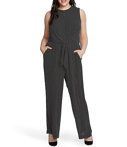 Vince Camuto Plus Size Sleeveless Geometric Tie Front Wide Leg Jumpsuit