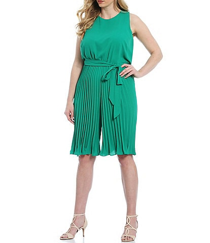Vince Camuto Plus Size Sleeveless Pleated Belted Crop Jumpsuit