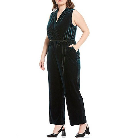 Vince Camuto Plus Size Sleeveless Velvet Surplice Jumpsuit