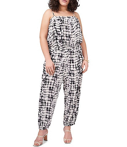 Vince Camuto Plus Size Square Neck Tie Dye Jumpsuit