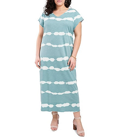 Vince Camuto Plus Size Tie Dye Knit V-Neck Short Sleeve Maxi Dress