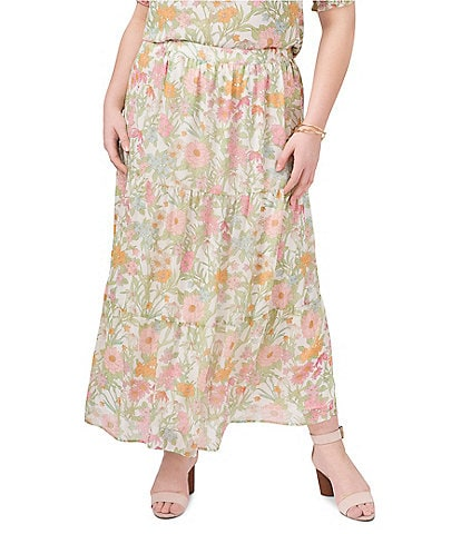 Vince Camuto Plus Size Tiered Floral Maxi Skirt