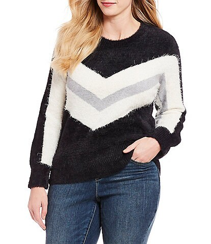 Vince Camuto Plus Size Tinsel Chevron Stripe Sweater