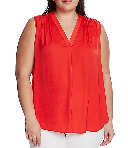 Vince Camuto Plus Size V-Neck Sleeveless Rumple Blouse