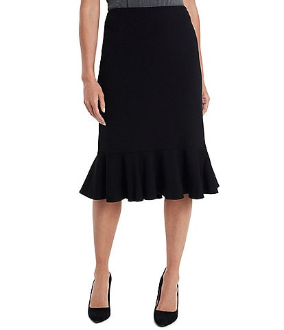 Vince Camuto Ponte Ruffled Pencil Skirt